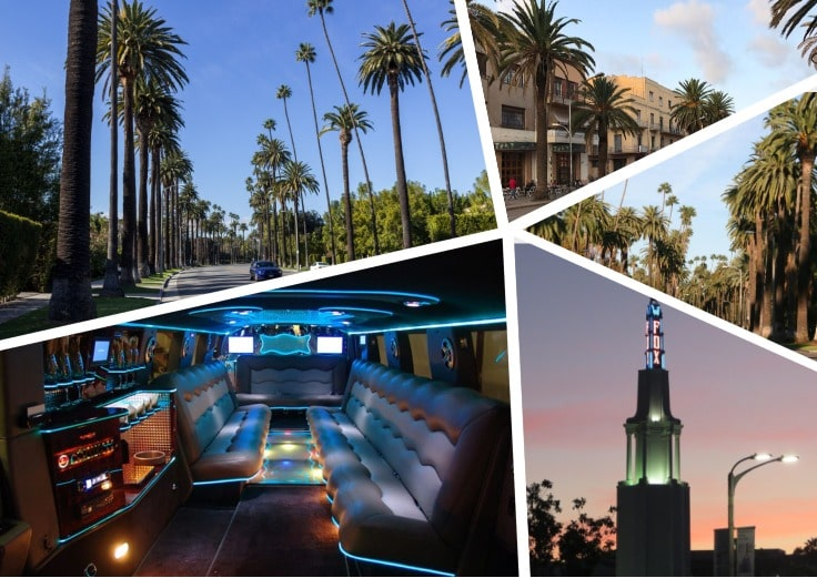 image is showing a collage about interior of luxury limo and road with a lot of palms in Westwood