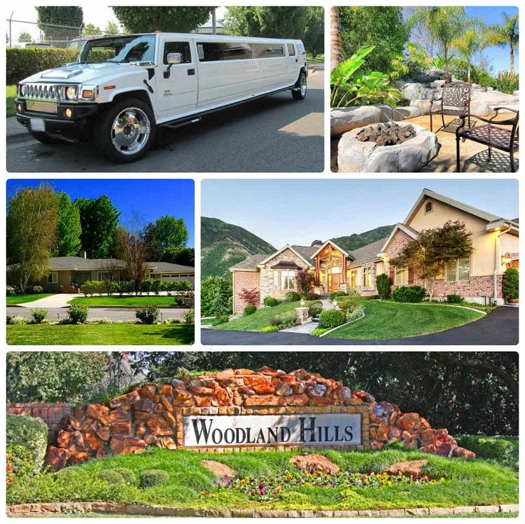 image is showing a collage about woodland hills views and white hummer limo