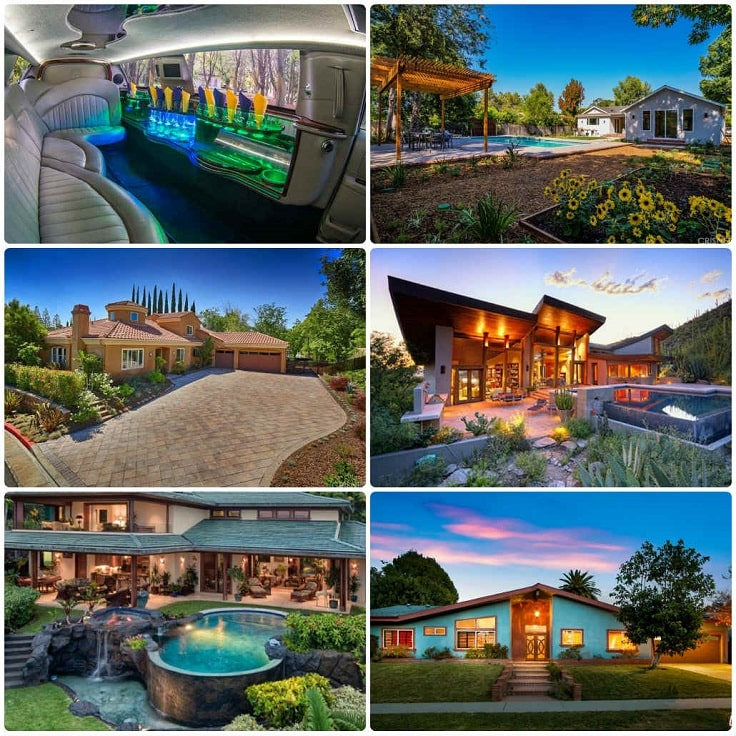 image is showing a collage about woodland hills views and interior of luxury limo