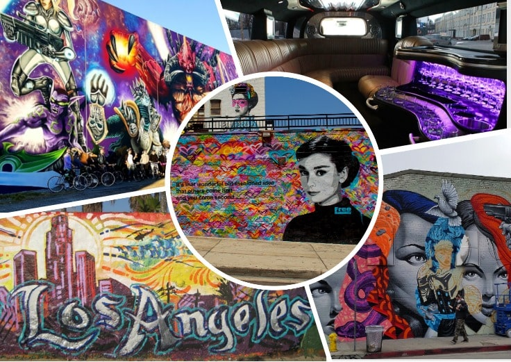 image is showing collage about la art views and interior of the limo