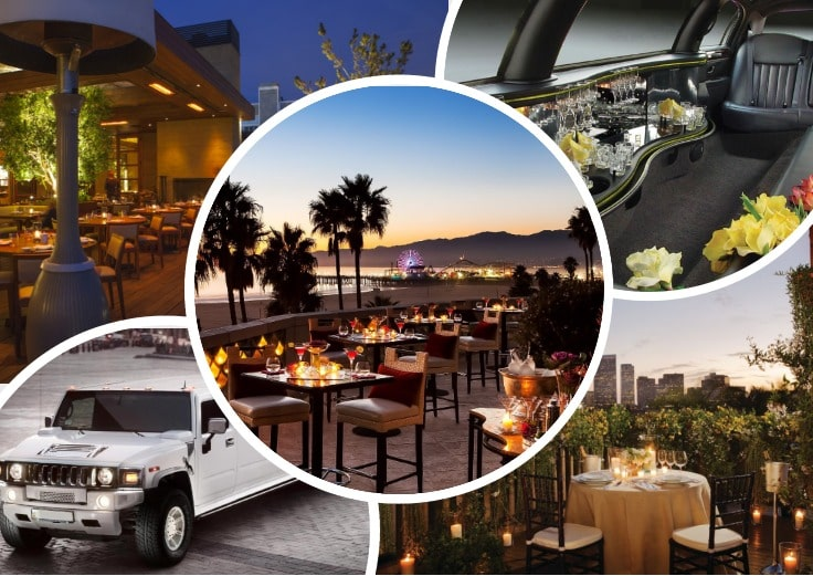 image is showing collage about los angeles views and white hummer limo