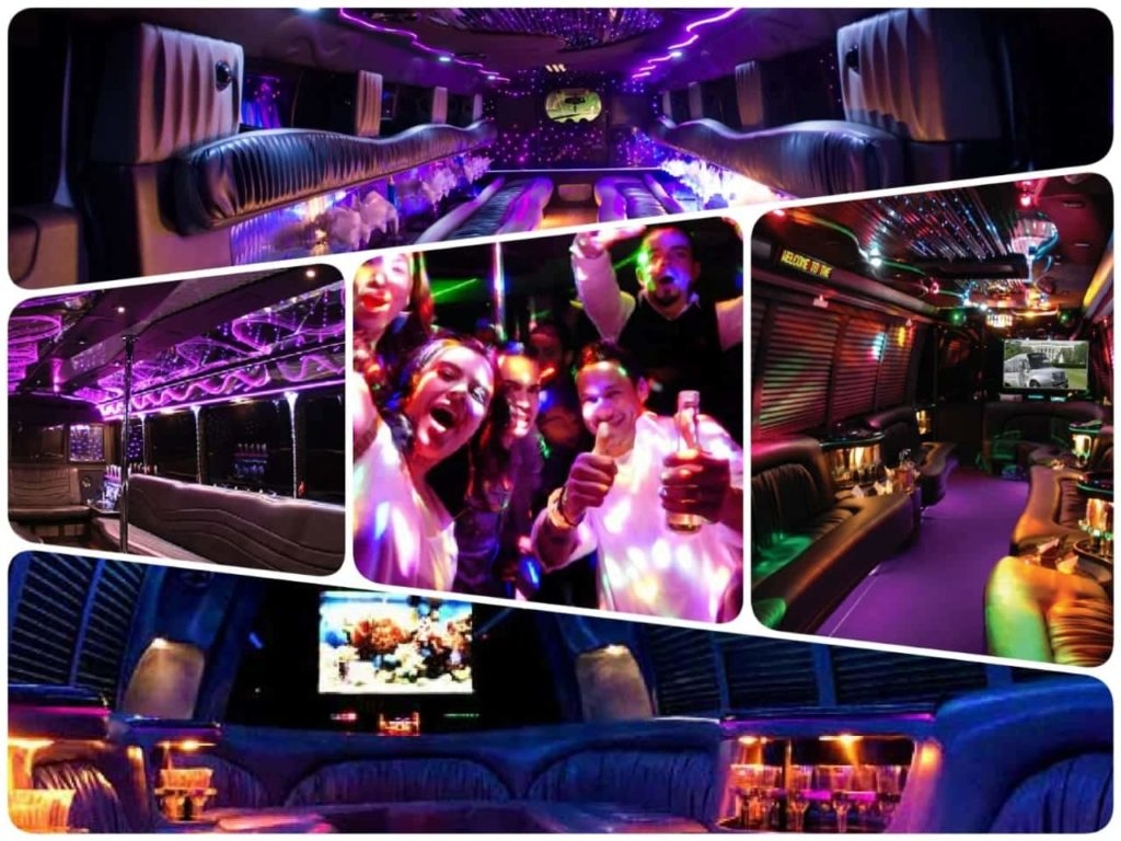 image is showing a collage about party buses and night out limo