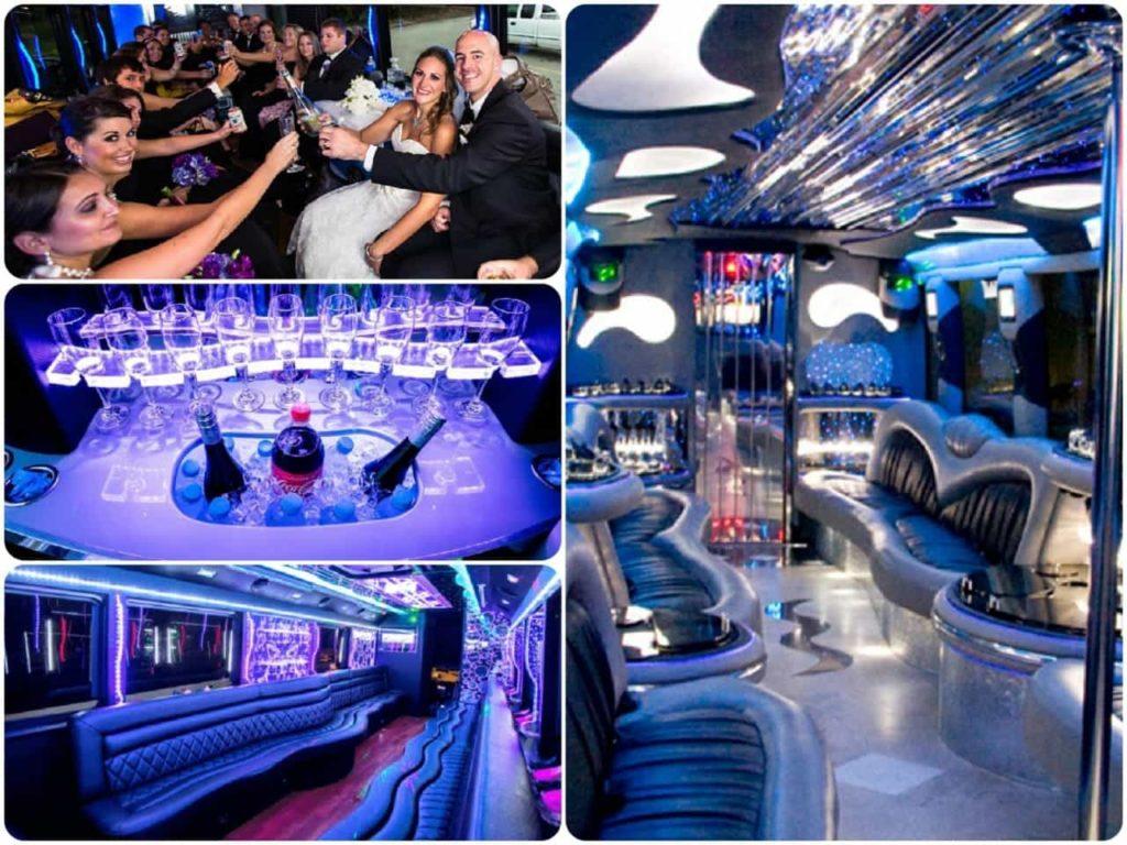 image is showing a collage about party bus parties in Los Angeles