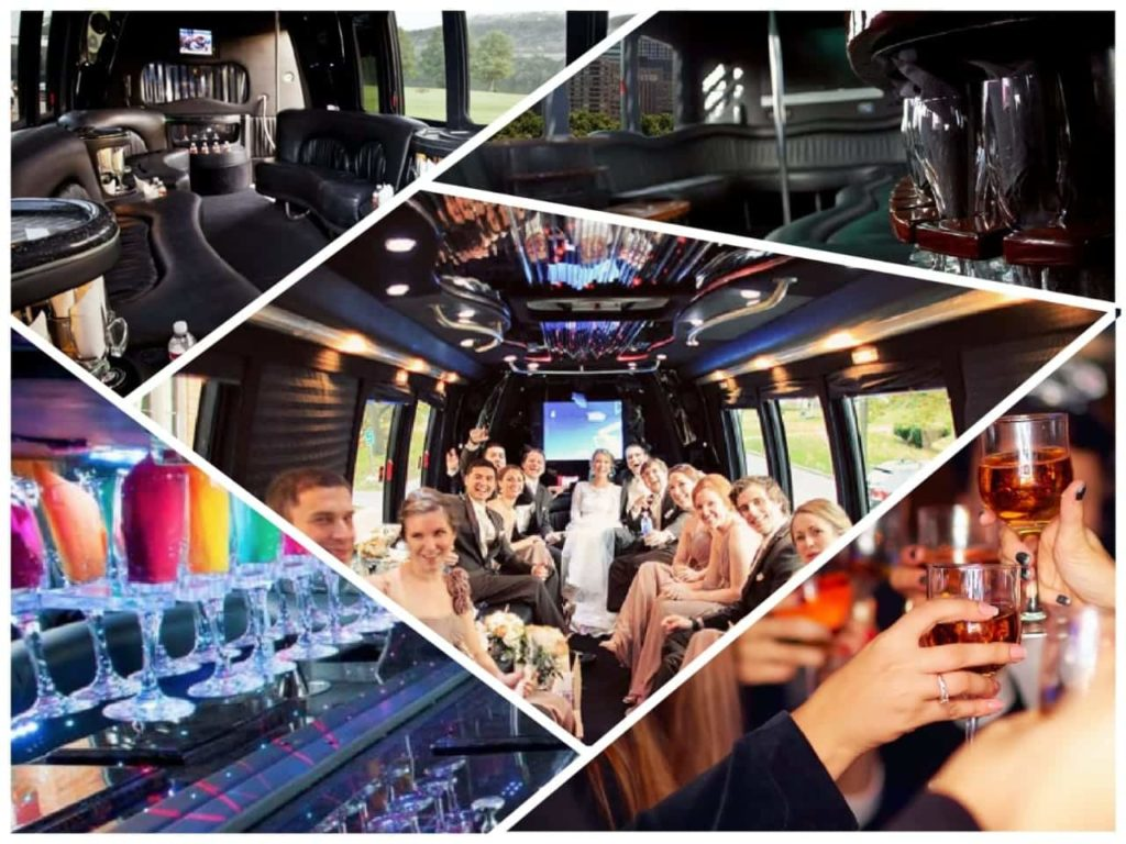 image is showing a collage about party buses and wedding